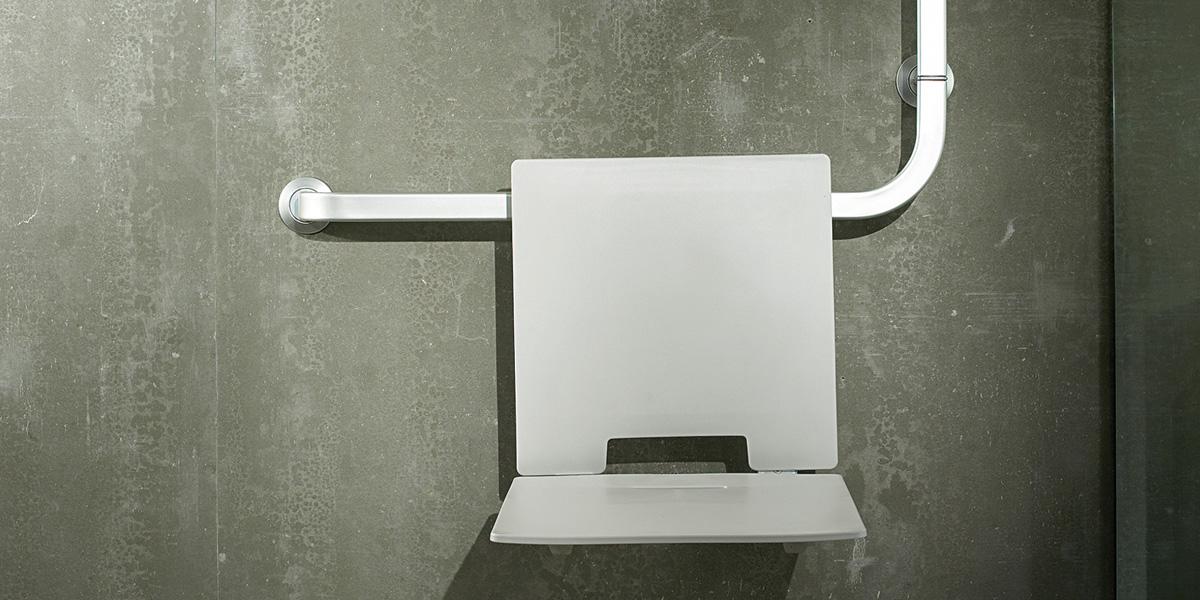 Estoli solid asiento ducha plegable con respaldo for Asiento plegable ducha
